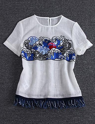 simpel demo gå ud kineserier sommer t-shirtprint rund hals kortærmet hvid linned / rayon medium