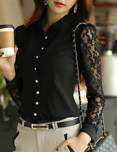 Veći konfekcijski brojevi Majica Žene Jednobojni Čipka Poliester