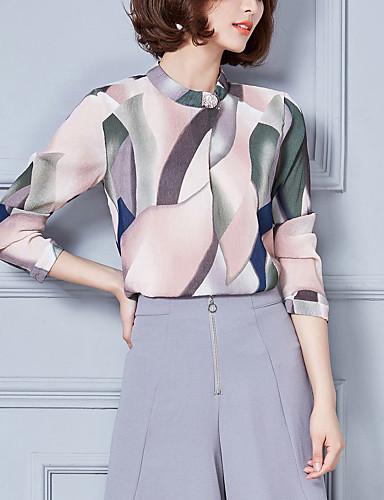 Høj krave Dame - Trykt mønster Bomuld, Blonder Simple Bluse