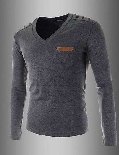 Masculino Camiseta Casual Simples Primavera / Outono,Sólido Branco / Preto / Cinza Algodão Decote V Manga Longa Média