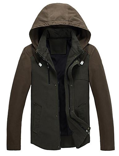 Heren Eenvoudig Herfst / Winter Jack,Casual/Dagelijks Opstaand-Lange mouw Rood / Zwart Kleurenblok Medium Katoen / Polyester