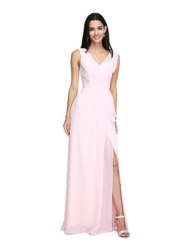 Sheath / Column V Neck Floor Length Chiffon Bridesmaid Dress with Pleats Split Front by LAN TING BRIDE®