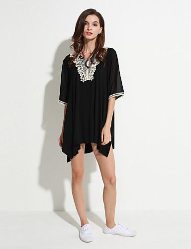 Mulheres Tamanhos Grandes Camiseta Renda, Sólido Decote V / Verão