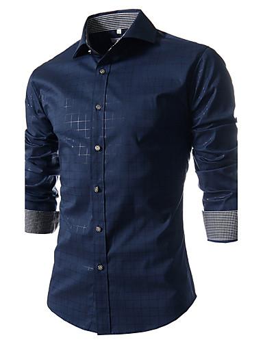 男性用 週末 シャツ, ビジネス レギュラーカラー スリム チェック コットン