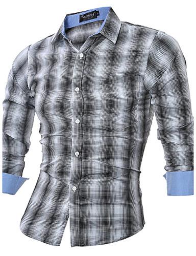 Herrn Schachbrett - Chinoiserie Hemd, Klassischer Kragen Baumwolle