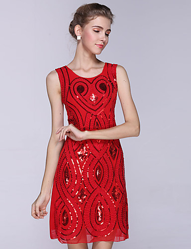 Women's Work Street chic Sheath Dress - Embroidered Red, Sequins High Rise