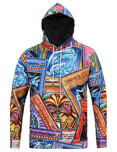 Herrn Leopard Alltag Freizeit Kapuzenshirt Standard Langarm Rundhalsausschnitt Herbst Polyester
