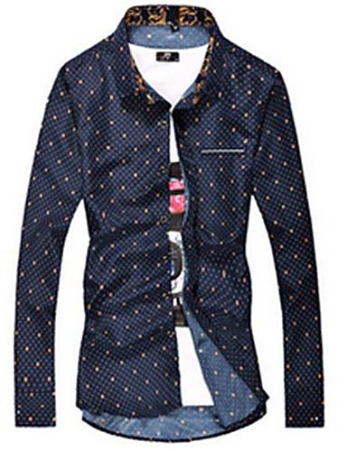 Masculino Camisa Casual Simples Primavera / Outono,Sólido / Estampado Azul / Branco Algodão Colarinho de Camisa Manga Longa Média