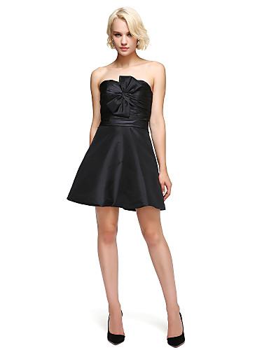 Linha A / Justo & Evasê Decote Princesa Curto / Mini Tafetá Vestidinho Preto Coquetel Vestido com Laço(s) de TS Couture®