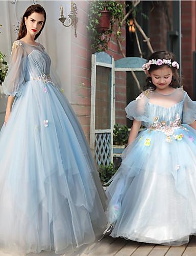 Linha A Princesa Ilusão Decote Longo Tule Charmeuse Evento Formal Vestido com Miçangas Flor de Huaxirenjiao