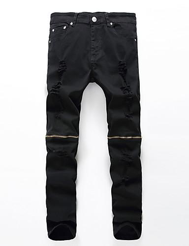 Chic de Calle Tallas Grandes Algodón Corte Recto / Corte Ancho / Vaqueros Pantalones - Un Color Plisado