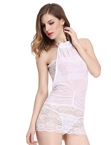 Feminino Super Sensual Conjunto Roupa de Noite,Sensual Jacquard-Fino Elastano Branco Preto