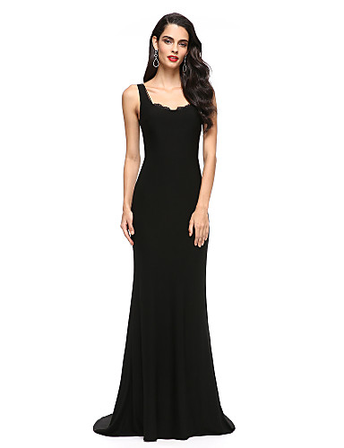 cheap Prom Dresses-Mermaid / Trumpet Scoop Neck Sweep / Brush Train Jersey Celebrity Style Cocktail Party / Formal Evening Dress with Lace by TS Couture®