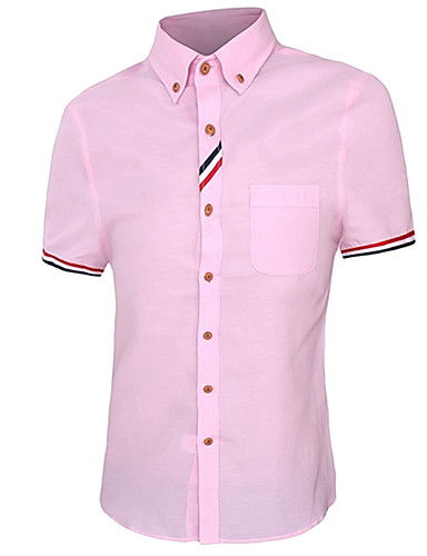voordelige Herenoverhemden-Heren Zakelijk / Informeel Overhemd Werk Effen Buttondown boord Blauw / Korte mouw / Zomer