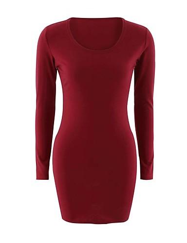 Mulheres Diário Para Noite Sensual Moda de Rua Tubinho Bainha Acima do Joelho Vestido Sólido Decote Redondo Manga Longa Inverno Outono