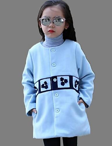 Casual/Dagelijks-Print-Katoen-Winter-Girl's-Blouse / Trenchcoat-Blauw / Beige