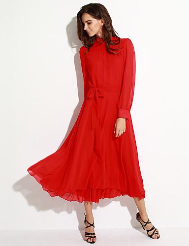 Robe Femme Soirée / Cocktail Vintage,Couleur Pleine Maxi Manches Longues Rouge Noir Automne Non Elastique Moyen