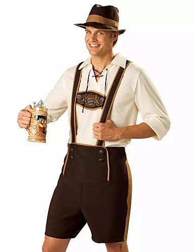 hesapli Oktoberfest-Cadılar Bayramı Kasım Festivali Lederhosen Erkek Pantalonlar Şapka Bavyera Kostüm Kahverengi