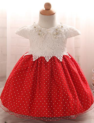Menina de Vestido Para Noite Poá Verão Poliéster Manga Curta Vermelho Rosa claro