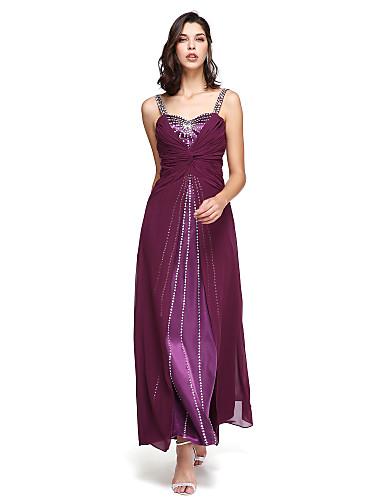 גזרת A רצועות עד הריצפה שיפון ערב רישמי שמלה עם חרוזים קפלים על ידי TS Couture®