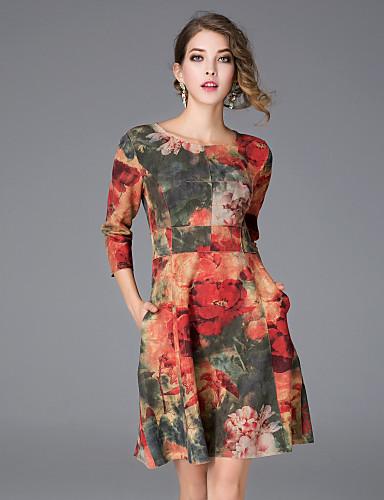Mujer Tejido Oriental Línea A Vestido Floral Sobre la rodilla