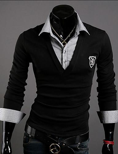 Bomull Medium Langermet,Skjortekrage Polo Ensfarget Vår Høst Enkel Fritid/hverdag Arbeid Herre