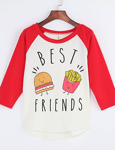 Feminino Camiseta Casual Fofo Primavera,Estampado Poliéster Decote Redondo Fina