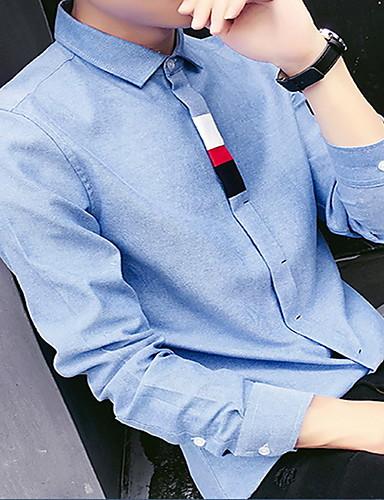 メンズ カジュアル/普段着 春 秋 シャツ,シンプル シャツカラー ソリッド コットン 長袖 ミディアム