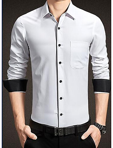 Bomull Medium Langermet,Skjortekrage Skjorte Ensfarget Stripet Vår Høst Enkel Fritid/hverdag Herre
