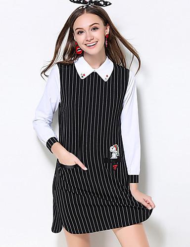 A-linje / Shift Dress Fritid/hverdag / Plusstørrelser Søt Dame,Stripet Skjortekrage Ovenfor knéet Langermet SortBomull / Polyester /