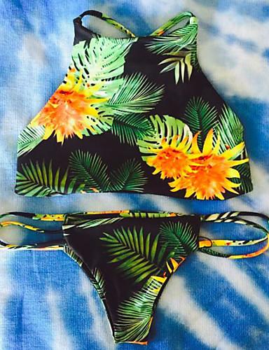 مناسب للعطلات S M L طباعة متعدد اللون, ملابس السباحة بيكيني أسود قبة مرتفعة حول الرقبة زهري هندسي نسائي / خصر منخفض / نحيل