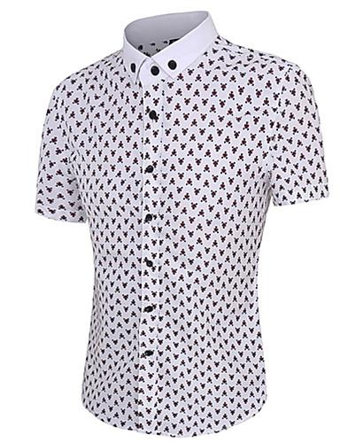 Bomull Blå / Rød Medium Kortermet,Skjortekrage Skjorte Trykt mønster Sommer Enkel Fritid/hverdag Herre