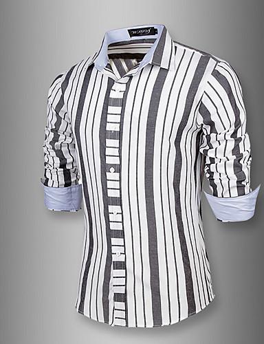 メンズ お出かけ カジュアル/普段着 シャツ,シンプル レギュラーカラー ストライプ コットン 長袖