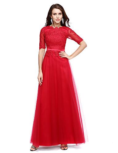 Linha A Scoop pescoço Longo Chiffon Coquetel / Evento Formal / Feriado Vestido com Apliques de TS Couture®