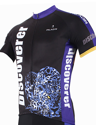 cheap Cycling Clothing-ILPALADINO Men's Short Sleeve Cycling Jersey Leopard Animal Bike Jersey Top Breathable Quick Dry Ultraviolet Resistant Sports Polyester 100% Polyester Mountain Bike MTB Road Bike Cycling Clothing