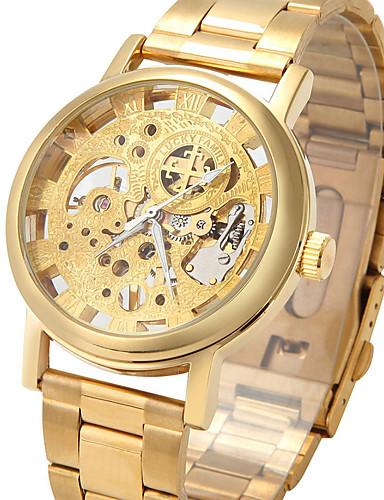 男性 スケルトン腕時計 ファッションウォッチ リストウォッチ 機械式時計 透かし加工 手巻き式 ステンレス バンド ビンテージ フラワー クール カジュアルスーツ シルバー ゴールド
