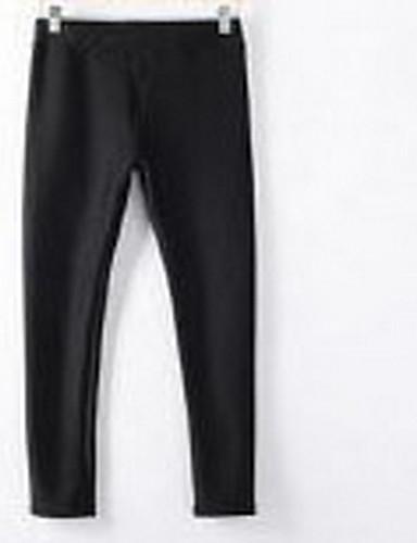 Naiset Yksinkertainen Mikroelastinen Chinos housut Housut,Ohut Keski vyötäröYhtenäinen
