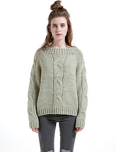 Normal Pullover Fritid/hverdag Enkel Dame,Ensfarget Rund hals Langermet Ull Bomull Polyester Høst Vinter Tykk Elastisk