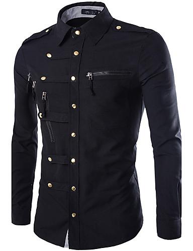 hesapli Erkek Gömlekleri-Erkek Klasik Yaka İnce - Gömlek Temel, Solid Askeri Koyu Mavi / Uzun Kollu / Bahar / Sonbahar