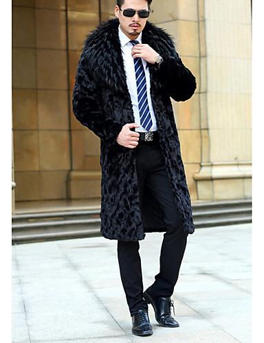 男性 カジュアル/普段着 冬 ソリッド コート,シンプル シャツカラー ブラック フェイクファー 長袖 ミディアム