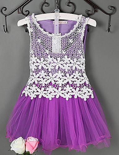 Sukienka Bawełna Poliester Dziewczyny Żakard Wiosna Lato Jesień Bez rękawów Falbany Koronka Purple Niebieski Różowy