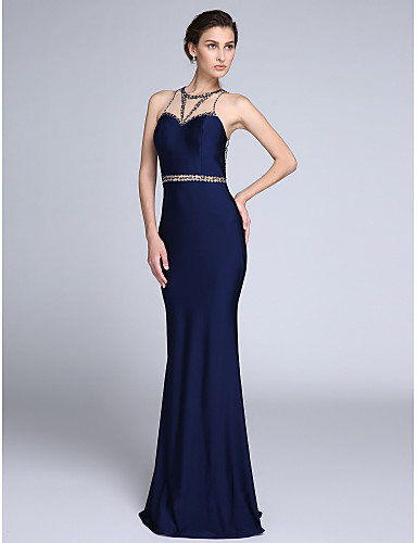 Mermaid / Trumpet Illusion Neckline Sweep / Brush Train Tulle Jersey Formal Evening Dress with Beading by TS Couture®