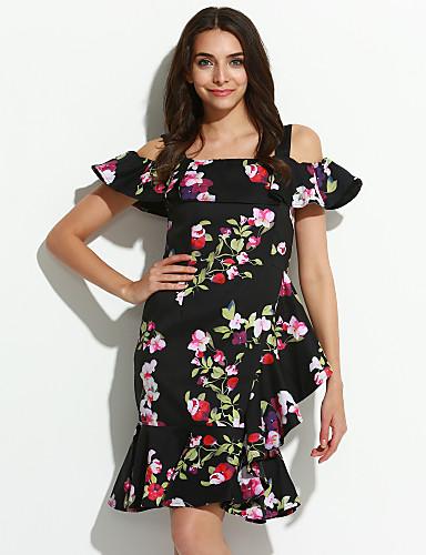 Mulheres Bainha Vestido Floral Altura dos Joelhos