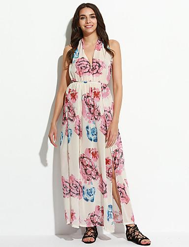 V עמוק מקסי גב חשוף / שתי וערב / דפוס שמלה נדן בוהו ליציאה בגדי ריקוד נשים / קיץ