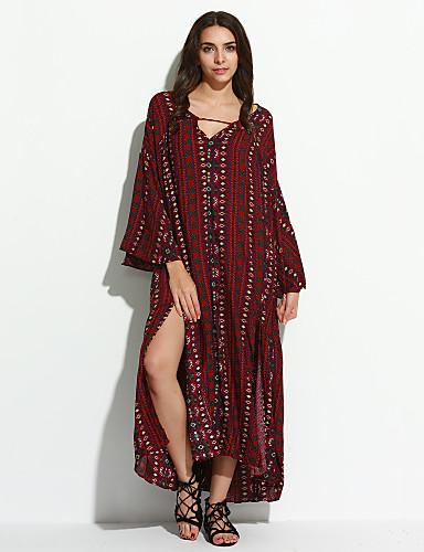 Bayanlar Pamuklu Midi Uzun Kollu V Yaka Katmanlı / Bölünmüş Bayanlar Elbise