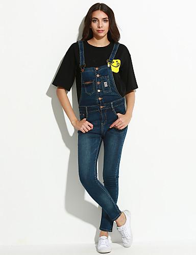 Dame Afslappet Overalls Jeans Bukser Helfarve