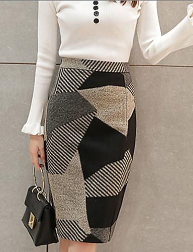 870fcbf836 Feminino Saias-Evasê Geométrica Com Fenda-Moda de Rua Cintura Alta  Happy-Hour