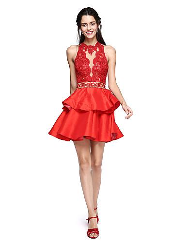 Ballkleid Stehkragen Kurz / Mini Spitze / Taft Schöner Rücken Cocktailparty / Abiball Kleid mit Perlenstickerei / Quaste durch TS Couture®
