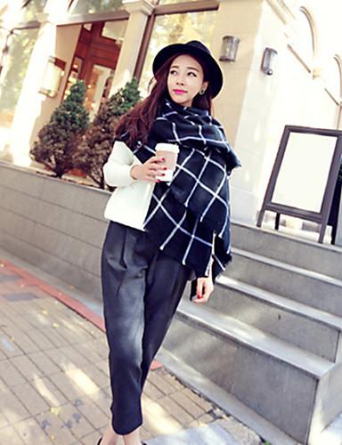 Women's Wool Blend Vintage Casual Check Winter Black