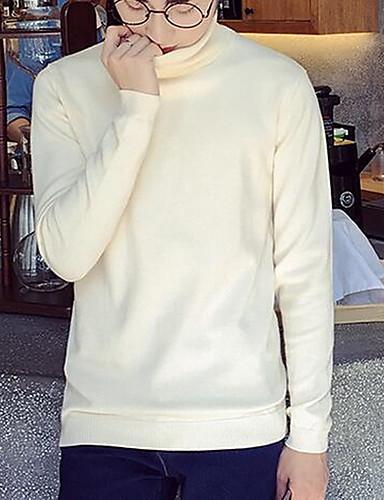 Herre Enkel Langermet Pullover - Ensfarget Høy krage